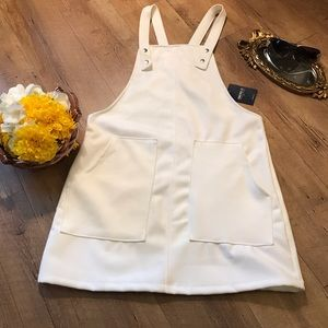 NEW White Overall Mini Dress Size Large